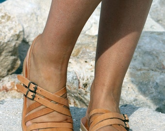 Leather Sandals - Gladiator style -Strappy leather Sandals - Natural Leather - Barefoot Greek Leather Sandals Handmade