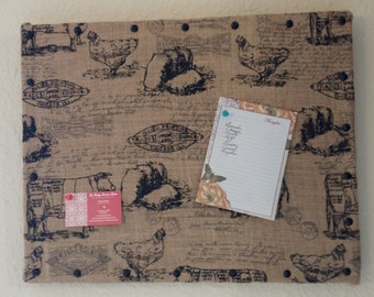 Farm Print Burlap Message Board
