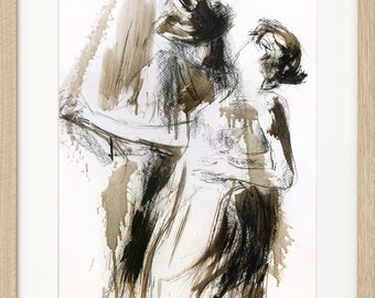 Dancers, Giclee art print of original charcoal drawing, Graphic art Sketch, Passion, Woman, Man, Couple, Figurative Wall art, Modern artwork