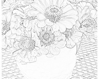 Coloring Card 6 // Zinnia Flowers