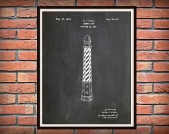 Patent 1924 Barber Pole - Barber Sign - Art Print - Poster - Barber Shop Art