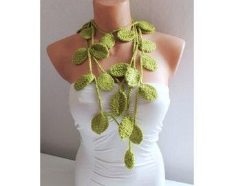 Green Leaf Scarf Crochet Lariat Scarf