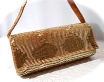 Beaded Evening Bag Vintage Hand Bag Gold Purse Women's Accessories VP-216
