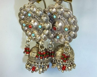 Vintage Silver-Tribal Earrings with Glass Jewels, Afghani Earrings, Silver Earrings, Tribal Earrings