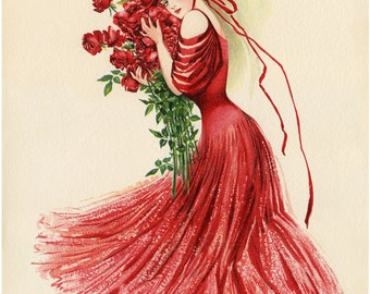 Red Dress, Victorian Dress, Red Victorian Dress, Victorian Red Dress, Dress Illustration, Red Victorian, Red Dress Illustration, Fashion Art