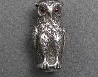 Rare sterling owl slide with garnet eyes