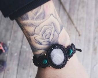 Moonstone and turquoise crystal macrame bracelet