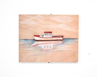 Boat Art on Wood, Ocean Art, 8x10 by YtterbergStudio