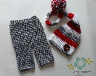 Newborn Stocking Hat and Pant Set - Red White and Grey Stocking Hat - Canadian Hat - Long Tailed Pixie Hat - Elf Hat - Long Elf Hat