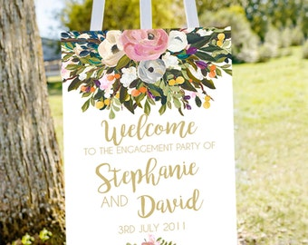 engagement welcome sign - gold - engagement decorations - printable sign