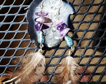 Amethyst & Feather Earrings