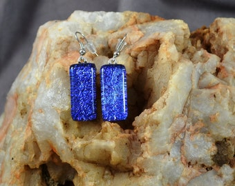 fused glass dichroic earring, blue, sparkle, handmade, kiln fired