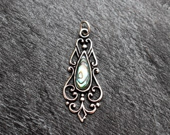 Black Mother of Pearl Pendant -  Sterling Silver