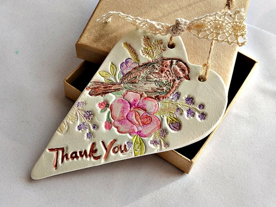 unique thank you gift hanging heart decor by frivolouscrafts