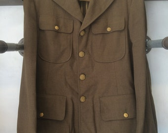 Vintage, 1940's U.S. WW2 Military Jacket. Men's. 38L. Olive. Beautiful.