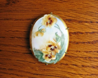 Victorian Hand Painted Porcelain Pansy Brooch ~ Antique Porcelain Pin ~ Vintage Jewelry
