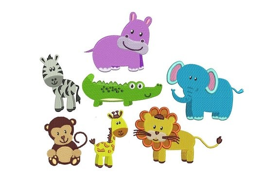 Zoo Animals Embroidery Design Pack Instant By JoanSewingStore