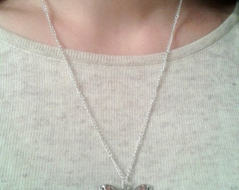 Necklace with butterfly with pink strass; butterfly addicted; Made in Italy