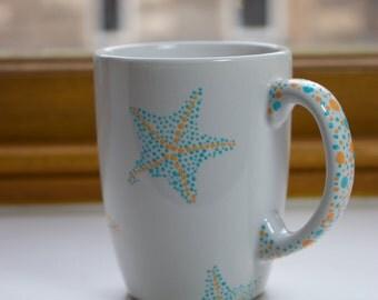 Hand Painted Mug, Starfish Mug, Custom Mug, Nautical Mug, Ocean Mug, Pointillism Mug