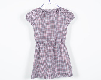 Dress with puff sleeves, short sleeves, soft Gumibund, comfortable, Plaid, summer-dress, tunic, Cowgirl, white, red, blue