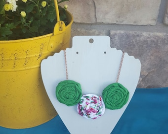 SALE! 14.00 Rolled Rosette Fabric Flower Necklace with Antique Copper Colored Chain in Green Multicolored