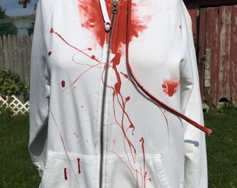 Zombie costume, zombie hoodie, zombie, halloween costume, walking dead hoodie, walking dead, white hoodie, womens zombie hoodie, vampire