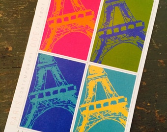 Paris Contemporary ~ Ode to Andy Warhol #035, Individual Post Card, Eiffel Tower, Paris, Andy Warhol, Jill Butler