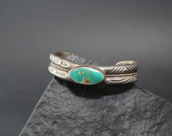 Sterling Silver Native American Royston Turquoise Navajo Cuff Bracelet Signed A. J. Platero