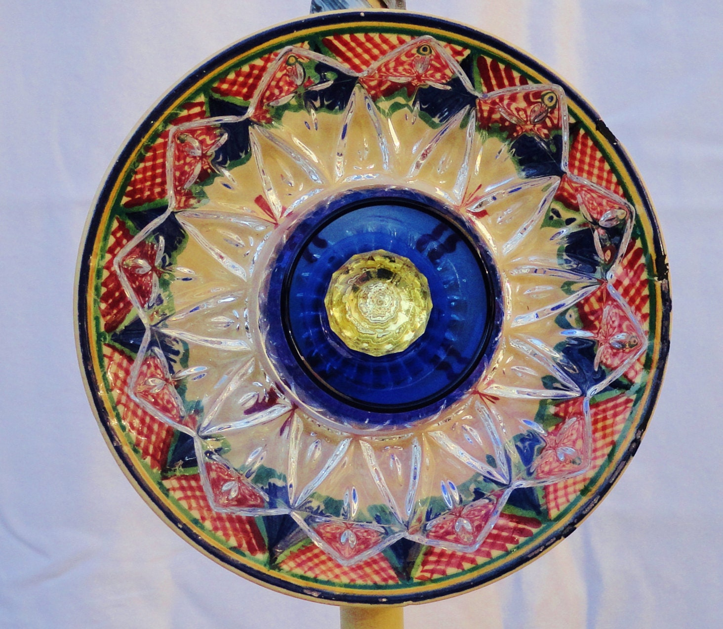 Recycled garden art garden ornament glass plate flower yard for Recycled glass garden ornaments