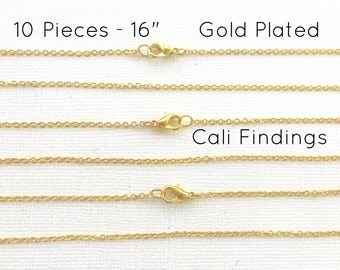 """10 Pcs GOLD PLATED 16"""" Finished Chain, Flat Shiny Cable Chain Soldered, 1.75 x 1.85mm, 10 Pieces, Wholesale Gold Chain, Bulk Chains, 16 inch"""