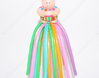 Sugar Glider Dangler Reset Toy - Luau Pig #1 - Green Flower