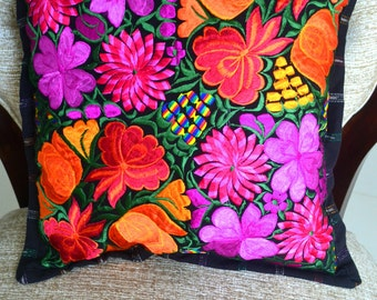 Beautiful Embroidered Floral Colorful Pillow Cover / Garden Home Pillow Mayan Decor