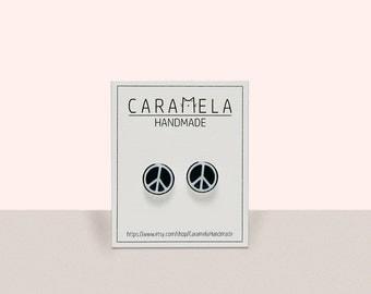 Peace stud earrings Peace Earrings Hippie Earrings Black and white earrings Gift idea for her