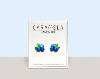 Blueberry Fruit Stud Earrings Fruit earrings food earrings
