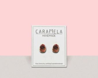 Pine cone Stud Earrings  Pine cone studs  Nature earrings
