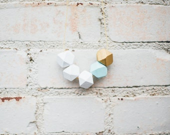 Geometric Wood Bead Necklace - teal // gold // white