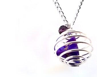 Caged Purple Interferenz Mini D4 Dice Necklace, Gaming Dice, D&D Dice, Geeky Necklace, Silver, Dice Shaming