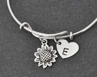 Flower Bangle, Sterling Silver Bangle, Flower Bracelet, Bridesmaid Gift, Personalized Bracelet, Charm Bangle, Initial Bracelet, Monogram