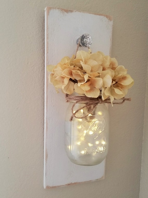 lighted mason jar sconce mason jar wall decor mason jars. Black Bedroom Furniture Sets. Home Design Ideas
