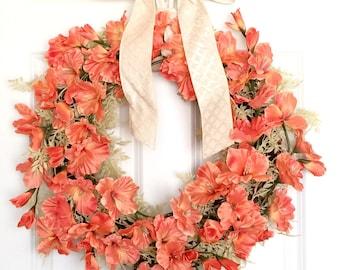 Coral Gladiolus Wreath | Front Door Wreath | Spring Wreath | Summer Wreath | Beachy Decor | Tropical Decor