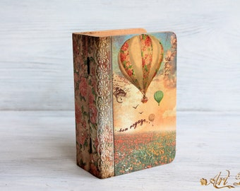 Custom Photo Box, Wooden jewelry box, decoupage box, Custom designed, border frame artificially aged wood box keepsak box memory box