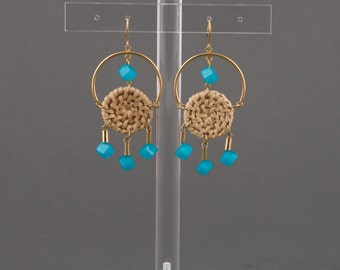 """Earrings with golden stamp.Wicker puck,Neon blue bead,golden and tube bead,Golden ring.""""Pic Nic"""""""