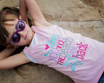 Love You to the Beach and Back Pink Racerback Tank Top Shirt - 0-24 months - 2T-14 Girls