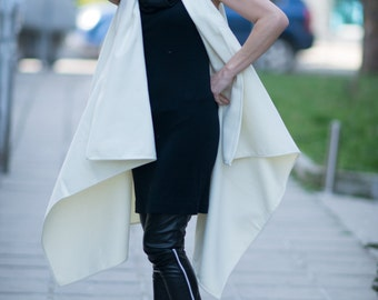 New Collection Asymmetryc Sleeveless White Zipper Cashmere Vest Coat by EUGfashion