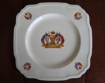 1937 Coronation Commemorative Plate - HM King George VI and HM Queen Elizabeth - Alfred Meakin Marigold - Astoria Shape