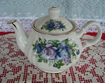 Vintage Fine China Made in Japan Teapot with Pink and Blue Roses on White
