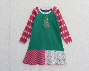 Christmas T Shirt Dress,  Recycled Christmas Tree Tshirt Dress Girl's Size 4, Repurposed Christmas Tree T Shirt Dress Striped Raglan Sleeves