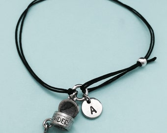 Powder makeup cord bracelet, powder makeup charm bracelet, adjustable bracelet, charm bracelet, personalized, initial, monogram