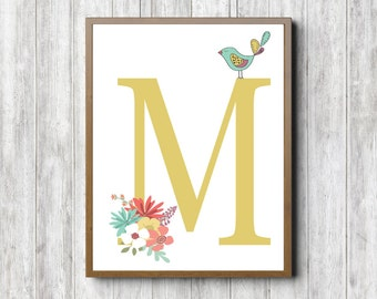 Letter M Wall Decor letter m print | etsy