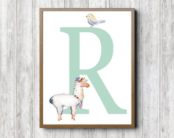 Nursery Wall Art - R Monogram Girls / Boys Room Wall Print - Watercolor Llama / Bird Poster - Letter R Art - Green Wall Decor- Quirky Animal